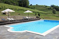 Landsitz mit Barbera d'Asti DOCG und Moscato DOCG Weinbergen zum Verkauf im Piemont Italien - Vineyard views from the pool