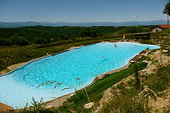 Country Estate for sale in Piemonte Italy. - Swimming area with mountain views