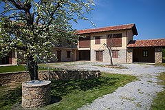 Restored Italian farmhouse for sale in Piemonte - Traditional Langhe stone  L shaped farmhouse and barn
