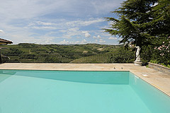 Prestigious Italian villa with Moscato vineyards  for sale in Piedmont. - Panoramic views from the pool