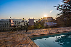 Prestigious Italian villa with Moscato vineyards  for sale in Piedmont. - Evening views from the pool
