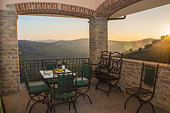 Prestigious Italian villa with Moscato vineyards  for sale in Piedmont. - Evening views from the terrace