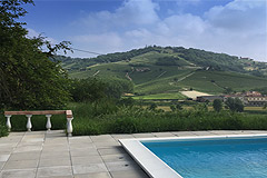 Two Country houses with swimming pool for sale in Piemonte - Panoramic views from the pool