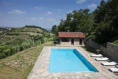 Luxury Country Home with Pool for sale in Piemonte Italy - Panoramic views from the pool