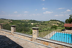 Luxury Country Home with Pool for sale in Piemonte Italy - Spacious terrace area