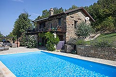 Luxury Country Home with swimming pool for sale in Piemonte - The most beautiful Unique Stone House with Swimming Pool in a panoramic position