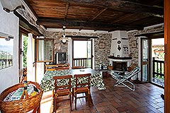 Restored Langhe Stone House and Guest Apartment for sale in Piemonte Italy - Dining area